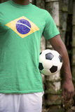 Brazilian Soccer Football Player Standing Jungle Bamboo Royalty Free Stock Images