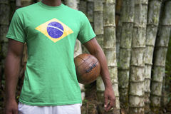 Brazilian Soccer Football Player Standing Jungle Bamboo Royalty Free Stock Photos