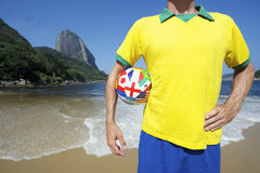 Brazilian Soccer Football Player Standing on Rio Beach Royalty Free Stock Image