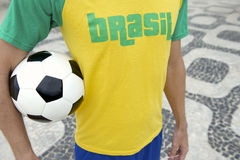 Brazilian Soccer Football Player Wearing Brasil Shirt Rio Royalty Free Stock Photos