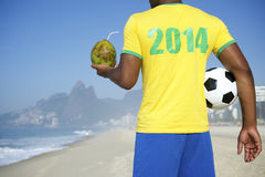 Brazilian Soccer Football Player Wearing 2014 Shirt Rio Royalty Free Stock Images
