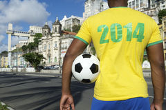 Brazilian Soccer Football Player Wearing 2014 Shirt Salvador Stock Photo