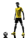 Brazilian soccer football player young man silhouette Stock Photography