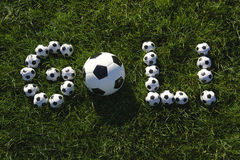 Brazilian Soccer Goal Message Made with Footballs Stock Photo