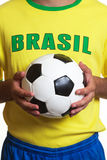 Brazilian soccer jersey with football Royalty Free Stock Photography