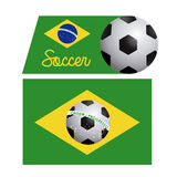 Brazilian soccer label. Over white background vector illustration Stock Photos