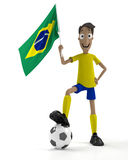 Brazilian soccer player. Smiling cartoon style soccer player with ball and brazil flag Royalty Free Stock Images