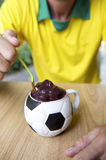 Brazilian Soccer Player Eating Acai Football Cup Royalty Free Stock Images