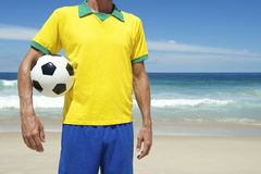 Brazilian Soccer Player Holding Football Brazil Beach Stock Photography