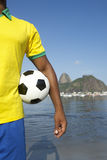 Brazilian Soccer Player Holding Football Sugarloaf Rio Stock Photos
