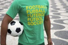 Brazilian Soccer Player International Shirt Holding Football Stock Photo