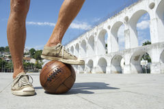 Brazilian Soccer Player Standing on Old Football Lapa Rio Stock Images