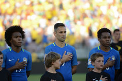 Brazilian soccers  during national anthem at the Copa America Ce Royalty Free Stock Photo
