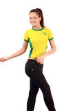 Brazilian sports fan. Royalty Free Stock Images