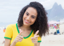 Brazilian sports fan with curly hair at Rio de Janeiro Royalty Free Stock Photos