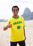 Brazilian sports fan at Rio de Janeiro showing thumb Stock Photos