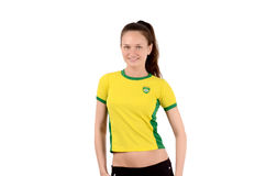 Brazilian sports fan smiling and happy. Royalty Free Stock Photography