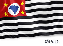 Brazilian state Sao Paulo flag. Brazilian state Sao Paulo flag waving on an isolated white background. State name is included below the flag. 3D rendering Stock Photography