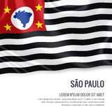Brazilian state Sao Paulo flag. Brazilian state Sao Paulo flag waving on an isolated white background. State name and the text area for your message Stock Photos