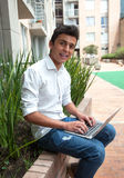 Brazilian student with notebook on a campus Royalty Free Stock Photography