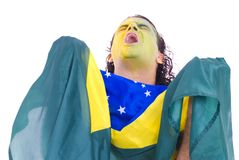 Brazilian Supporter. Male Adult Brazilian Supporter holding a flag Stock Image