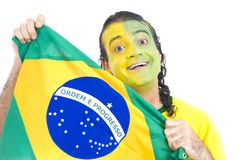 Brazilian Supporter. Male Adult Brazilian Supporter with the flag Stock Photography