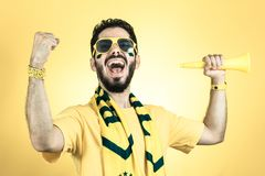Brazilian supporter of National football team is celebrating, ch. Brazilian football fan emotions: celebrating, excited, happy. Supporter of Brazil national Stock Images