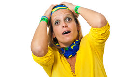 Brazilian supporter suffering Stock Photo