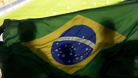 Brazilian supporters waving national flag, cheering for football team victory. Stock photo stock photography