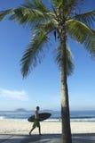 Brazilian Surfer Carrying Surfboard Arpoador Brazil Stock Images