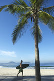 Brazilian Surfer Carrying Surfboard Arpoador Brazil Stock Photos