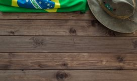 Brazilian symbols on a wooden background with space for inscription. Brazilian symbols on a wooden background with space for a text Royalty Free Stock Photos
