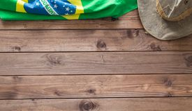 Brazilian symbols on a wooden background with space for inscription. Brazilian symbols on a wooden background with space for a text Royalty Free Stock Image