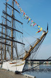 "Brazilian tall ship ""Cisne Branco"" in the port. Stock Photography"
