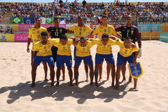 Brazilian TEAM Lineup MUNDIALITO - PORTUGUESE Team 2017 Carcavelos Portugal Royalty Free Stock Image