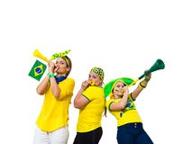 Brazilian three fans. Three Brazilian girls supporters on white background Stock Photography