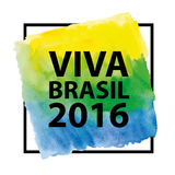 Brazilian 2016,title ,frame on Watercolor texture. Brazili 2016.Brazilian flag,watercolor texture Background,text and frame.Vector Inscription hurrah Brasil 2016 Stock Image