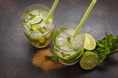 Brazilian traditional caipirinha with lime, sugar and mint. Dark royalty free stock image