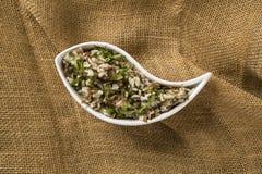 Brazilian traditional food called arroz de carreteiro Stock Photos