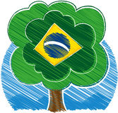 Brazilian tree. Drawing of a tree representing the flag of Brazil Stock Image