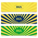 Brazilian vector banners. Banners with element flag of Brazil on a background with rays. 3D vector eps 10 Royalty Free Stock Photos