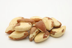 Brazilian walnuts. On white background stock photography