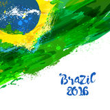 Brazilian watercolor flag. Brasilia 2016. Watercolor hand drawn national flag. Watercolor background in Brazilian colors concept. Template for cover design Stock Photos