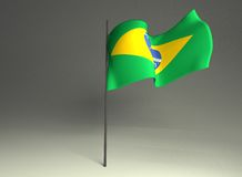 Brazilian waved flag. 3d rendering illustrations brazilian waving flag in the mast Royalty Free Stock Image