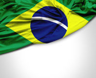 Brazilian waving flag on white background Stock Image