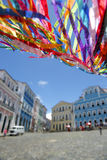 Brazilian Wish Ribbons Pelourinho Salvador Bahia Brazil. Colorful Brazilian wish ribbons waving in the sky above colonial architecture of Pelourinho Salvador stock photography