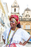 A Brazilian woman of African descent, smiling, wearing traditional clothes from the state of Bahia Royalty Free Stock Photo