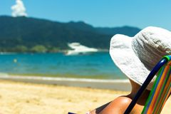 Brazilian woman at the beach. Ilhabela - Sao Paulo - Brazil stock image