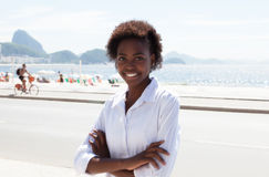 Brazilian woman with crossed arms at Rio de Janeiro Stock Photo