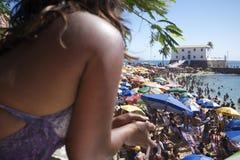 Brazilian Woman Crowded Beach Barra Salvador Brazil Stock Images